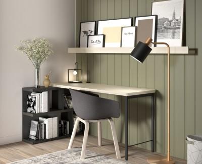 Bureau avec meuble à étagères et étagères portes-revues