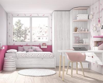 Chambre ado avec lit gigogne, armoire d'angle et bureau avec tiroirs