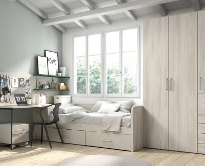Chambre ado avec lit compact avec 2 tiroirs