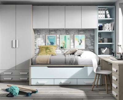 Chambre ado composée de lit gigogne, bureau et armoire pont