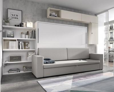 Chambre avec lit escamotable canapé avec coffre et étagères