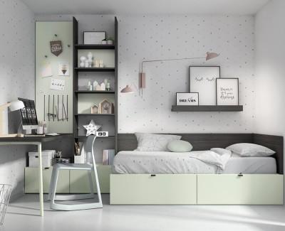 Chambre enfant avec lit compact avec 2 tiroirs