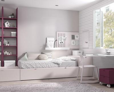 Chambre enfant avec lit gigogne, meuble à étagères, bureau avec 2 tiroirs et caisson à roulettes