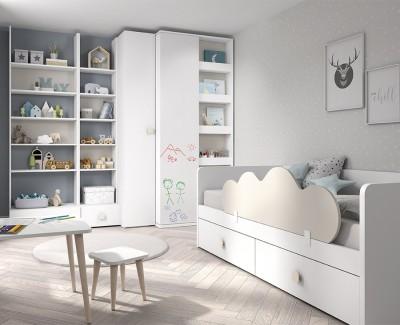 Chambre enfant avec lit compact avec 2 tiroirs, armoire et étagère