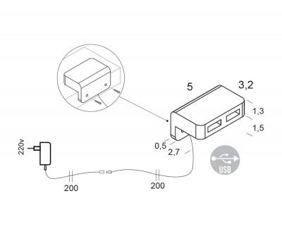 Boitier double USB avec fixation arrière