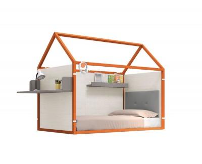 Lit maison laqué fermé avec un bureau et étagère
