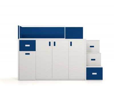Lit haut avec bureau amovible, armoire et tiroirs