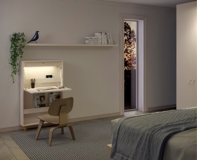 Bureau mural rabattable avec lumière LED, port USB, prise de courant et fond porte-revues