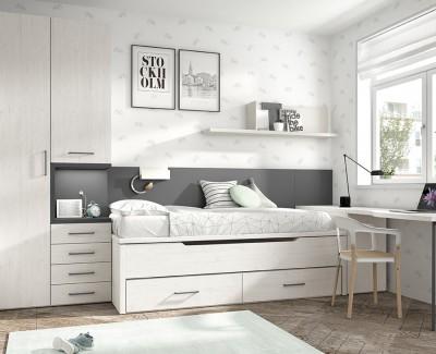 Armoire avec espace table de chevet et armoire à 1 porte