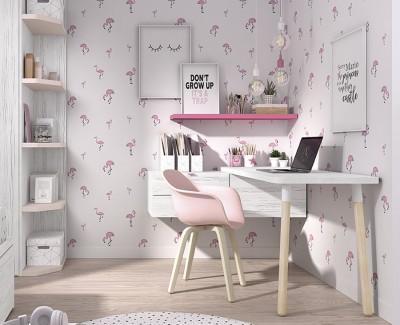 Bureau avec tiroirs et étagère