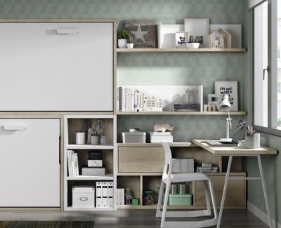 Chambre ado composée de lit superposé escamotable, bureau et étagères