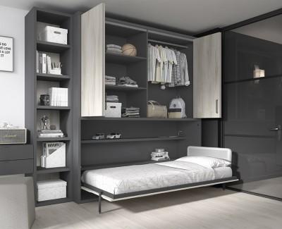 Chambre ado avec lit escamotable avec armoire à portes pliantes, meuble à étagères et bureau