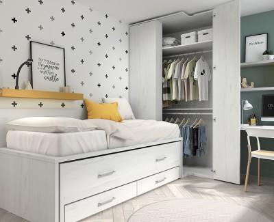 Chambre jeune avec lit gigogne, armoire d'angle et bureau avec étagères