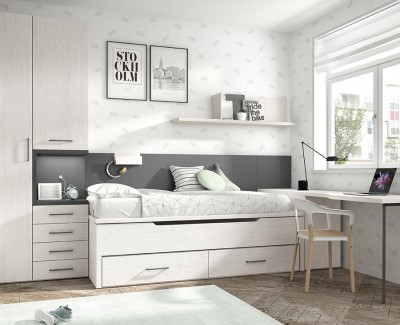 Chambre jeune avec lit gigogne, armoire et bureau avec meuble amovible