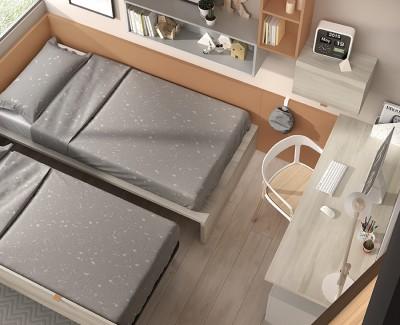Chambre ado avec lit gigogne, bureau, caisson à roulettes et étagères