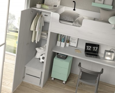 Chambre ado composée d'un lit superposé avec bureau et armoire