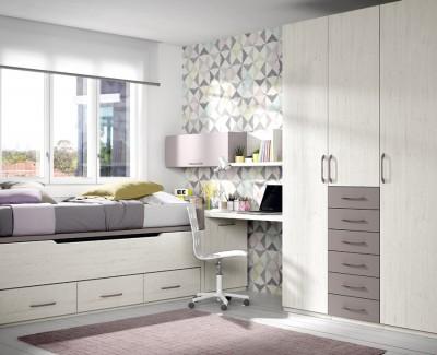 Chambre ado composée de lit compact, armoire, bureau et étagères