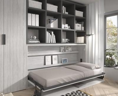 Chambre avec lit escamotable avec bureau et étagères