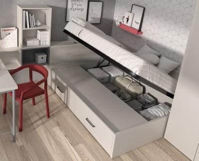 Chambre avec lit compact avec coffre et tiroirs, avec bureau et armoire