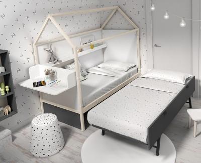 Chambre avec lit maison gigogne, étagère porte-revues, bureau et meuble de rangement