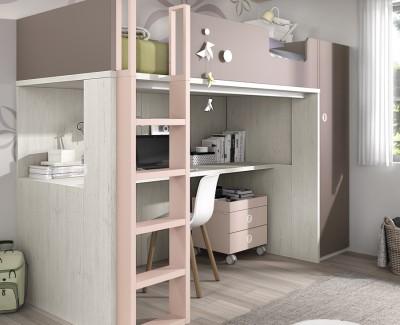 Chambre ado composée de lit superposé, armoire et bureau