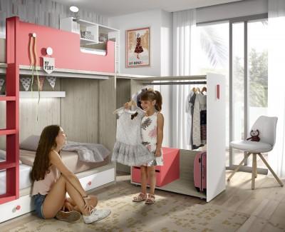 Chambre enfant avec lit superposé, armoire et bureau amovibles, et meuble à étagères