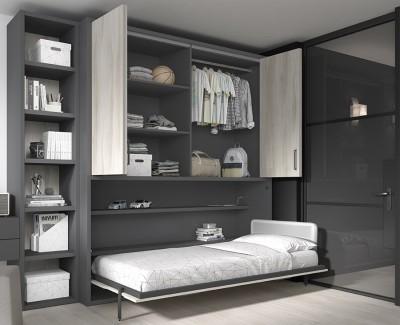 Lit escamotable ado avec armoire à portes pliantes