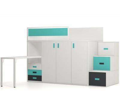 Lit haut avec bureau, armoire et tiroirs