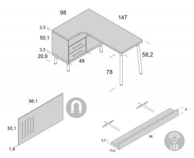 Bureau en L avec 2 tiroirs