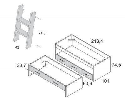 Lit gigogne avec 3 tiroirs et échelle amovible