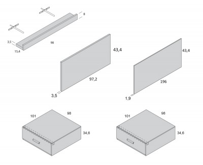 Lit compact avec 2 tiroirs